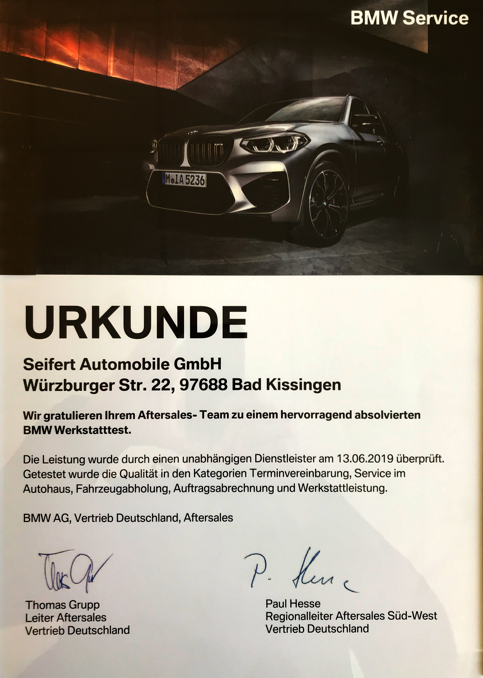 Urkunde BMW Seifert Automobile